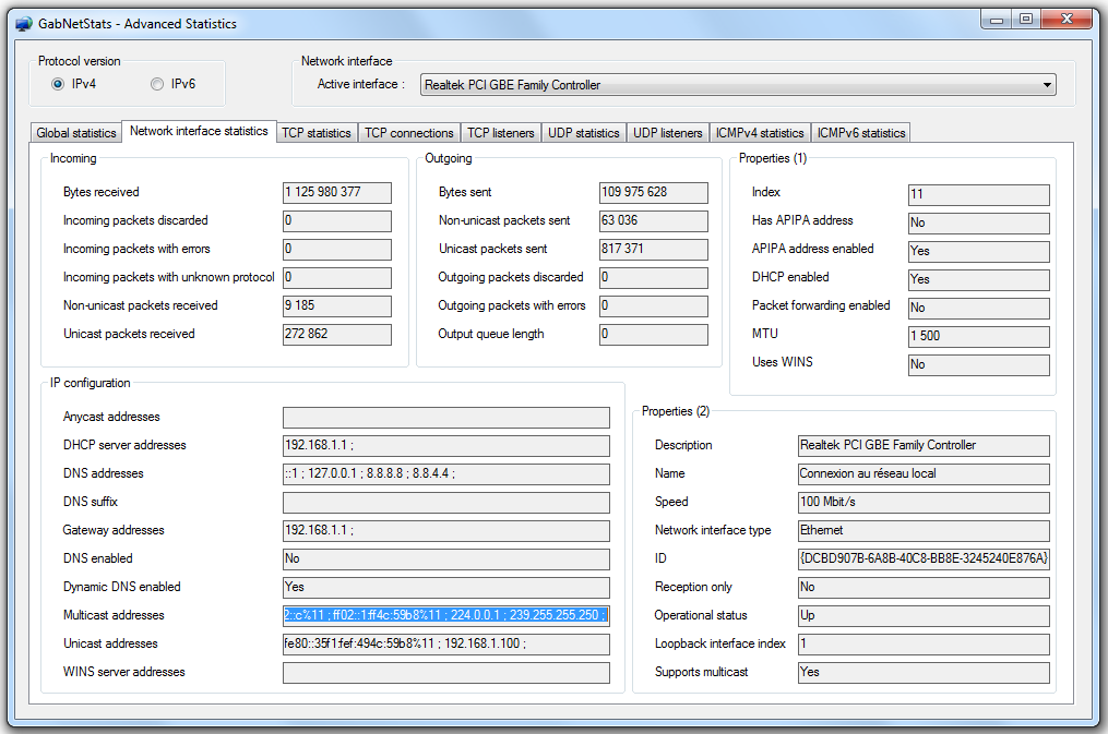 Picture of the advanced network traffic statistics window