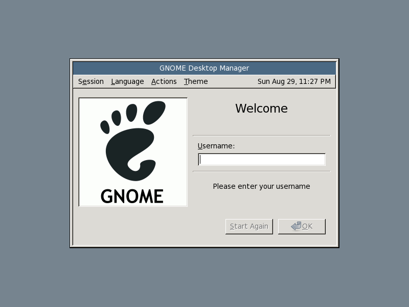 Gnome login screen
