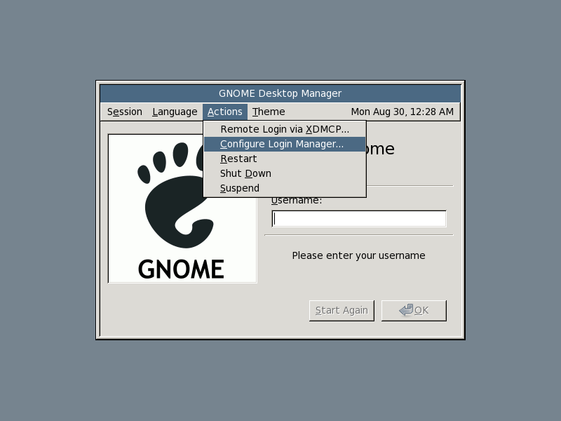 Configure the login manager