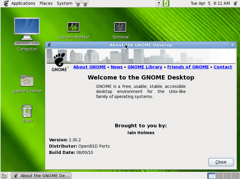 Gnome 2.30 about window on OpenBSD 4.8