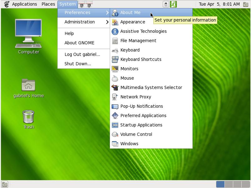 Gnome 2.30 system menu