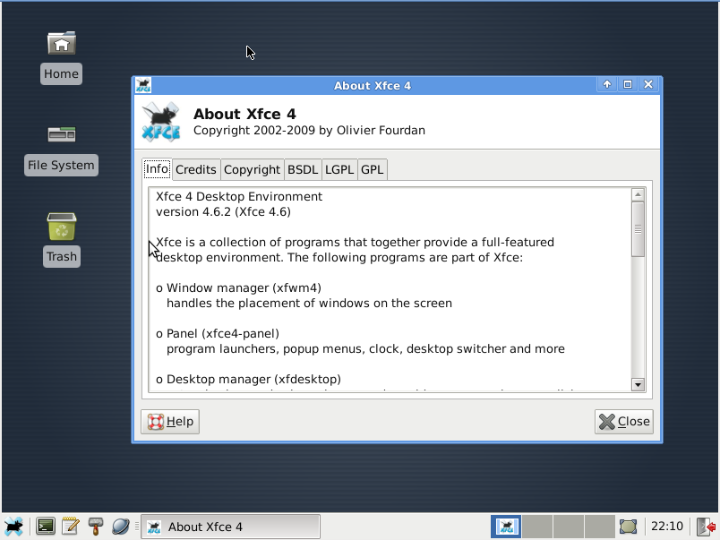 XFCE about window