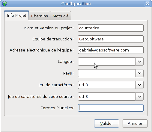 Poedit project configuration, Tab 1