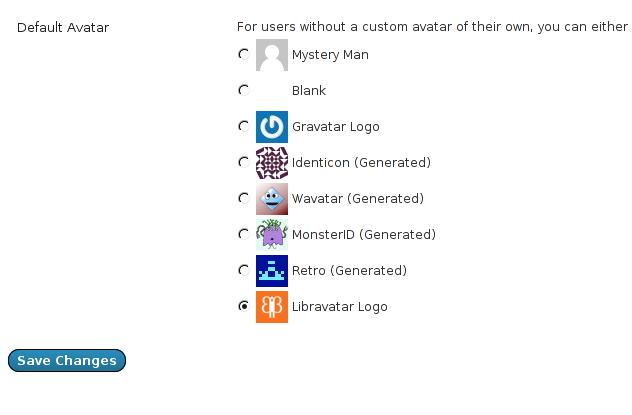 Libravatar support in WordPress