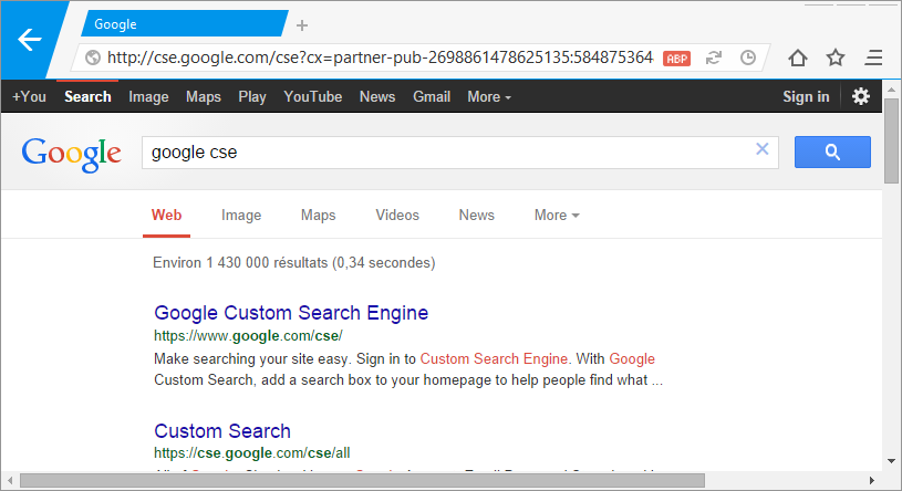 Nitro with Google CSE